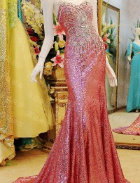 Excellent Mermaid Sweetheart Cap Sleeves Sheer Beaded Crystal Sequined Long Dress Party Evening Elegant Prom Dresses 2014 MF032