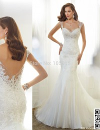 Amazing Lace Wedding Dress Sweetheart Sleeveless Sexy Backless Beaded Mermaid Wedding Dresses Vintage Wedding Dress 2015  M73