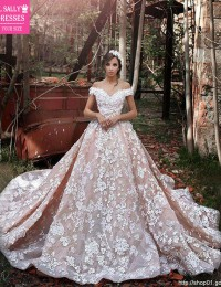 Luxury Off Shoulder Robe De Mariee Flowers Beaded One Meter Train Sexy Vintage Wedding Dress 2016 Vestido De Noiva Longo W1151