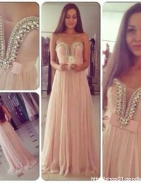 Real Sample Vestidos De Renda Custom Made Pink With Crystal Prom Dresses Women Evening Dresses Chiffon VC170