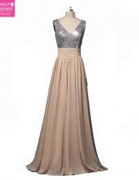 2015 Custom Made Vestidos De Renda Sexy Champagne With Sequins V Neck Long Prom Dresses Women Evening Dresses Chiffon VC-159