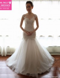 Fashionable Scoop Noble And Elegant See Through Cap Sleeves Beaded Lace Mermaid Wedding Dresses 2015 Vestido De Casamento MF381