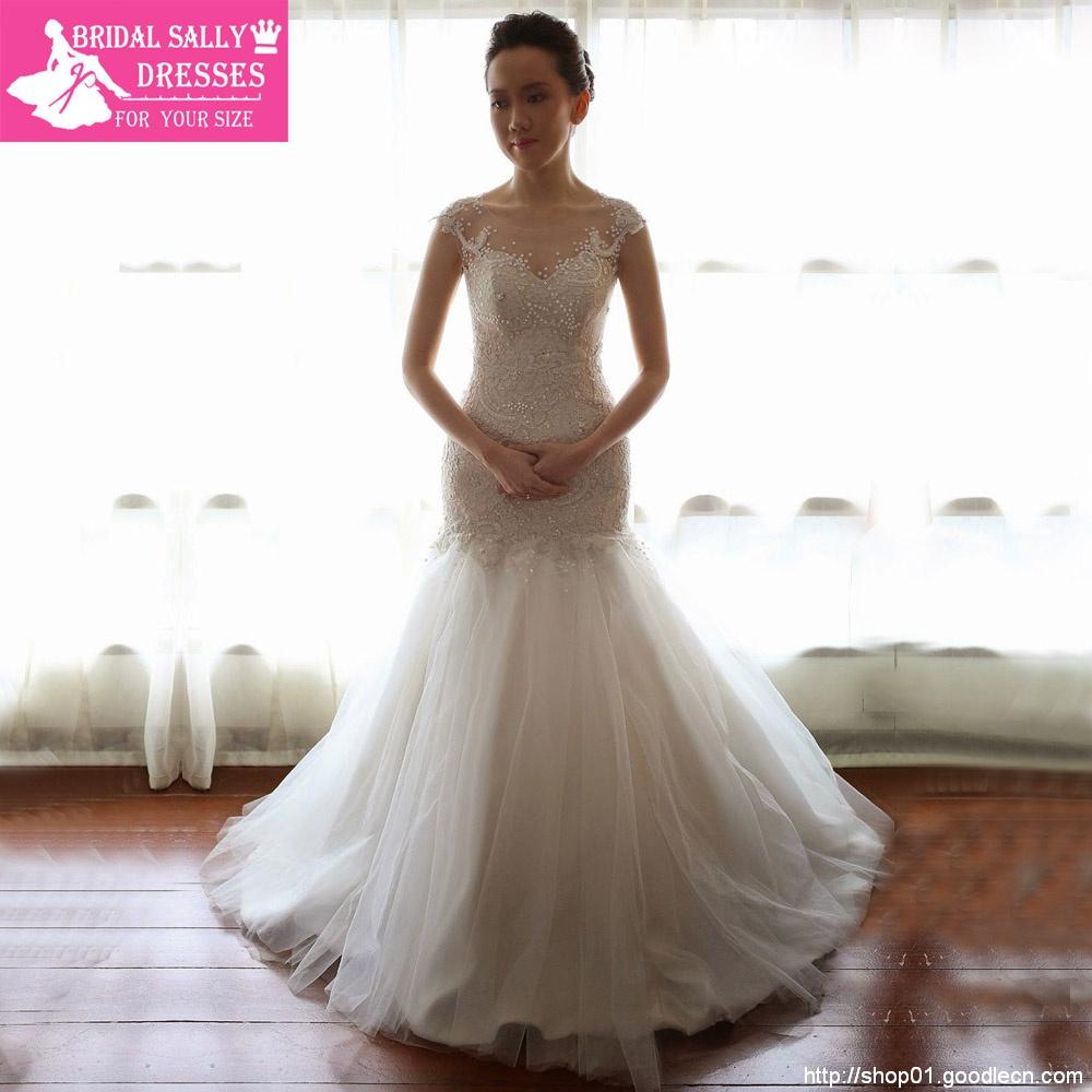 Fashionable Scoop Noble And Elegant See Through Cap Sleeves Beaded Lace Mermaid Wedding Dresses 2015 Vestido De Casamento MF381