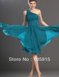 Elegant Turquoise Kimono A-Line Knee-Length Ruffles Short Prom Evening Dresses Party Dress Girl's Dresses Chiffon XH09
