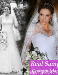 2014 Real Sample Vestidos De Noiva Custom Made Lace V Neck Sexy Wedding Dresses With Long Sleeves Bridal Gowns Satin VC-99