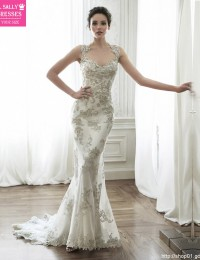 Luxury Scoop Sleeveless Beading Appliques Sexy Open Back Lace Wedding Dress Mermaid Wedding Dresses 2015 Vestidos De Novia MK-33
