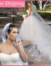 Real photos Flutty Wedding Ball Gowns With Lace Princess Bride Dress with A Long Train Free Shipping Tull MH2011