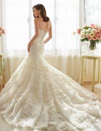 Romantic Rufflws Lace Mermaid Wedding Dresses 2016 Shopping Sales Online Robe De Maraige Appliques Tiered Bride Dresses W1119D