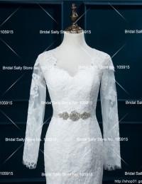 Mermaid Wedding Dress 2016 Long Sleeve Muslim Wedding Dresses Vestido De Noiva Foto Real Beaded Sash Bridal Dresses W0605I