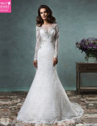 Unique Mermaid Wedding Dresses Robe De Mariage Vintage Wedding Dress 2016 Long Sleeve Lace Wedding Gowns See Through Sexy W0409C
