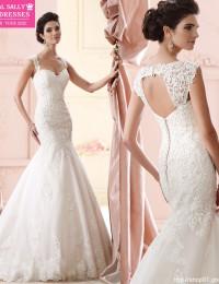 Custom Made Romantic Lace Wedding Dress 2015 Hot Sale Sweetangel Mermaid Wedding Dresses Backless Vestido De Noiva MS44