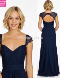 Navy Blue Sexy Backless Lace Long Bridesmaid Dresses Vestido De Festa Longo Party Dresses robe demoiselle d'honneur 2015 MK-947