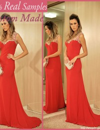 2014 Exquisite Watermelon Red  Long Prom Dresses See Through Sheath Party Dress Free Shipping Chiffon YL2014