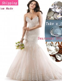 Exquisite Fascinating Champagne Sweetheart Strapless Rhinestone Lace Up Wedding Dress Mermaid Bride Wedding Gowns MH12