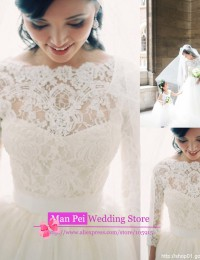 Fashionable White Custom Made A-Line Scoop See Through Vintage Long Sleeve Lace Wedding Dresses 2014 Vestidos De Novia MF360