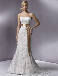 Simple Real photos White/Ivory Lace Wedding Dress  Lace Up Bride Dress with sash Free Shipping MH2012