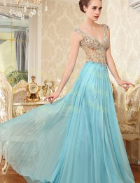 New Fashion Real Sample A-Line V-Neck Cap Sleeves Backless Beaded Crystals Draped Long Elegant Prom Evening Dresses 2014 MF020
