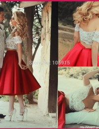 Fashionable Sexy Red Sweetheart Off The Shoulder Lace Two Piece Prom Dresses 2015 Mid-Calf Party Dresses Satin M002