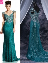 Popular New Fashion Sexy Mermaid V-Neck Cap Sleeves Beading Sequined Long Backless Elegant Evening Prom Dresses 2015 MF-209