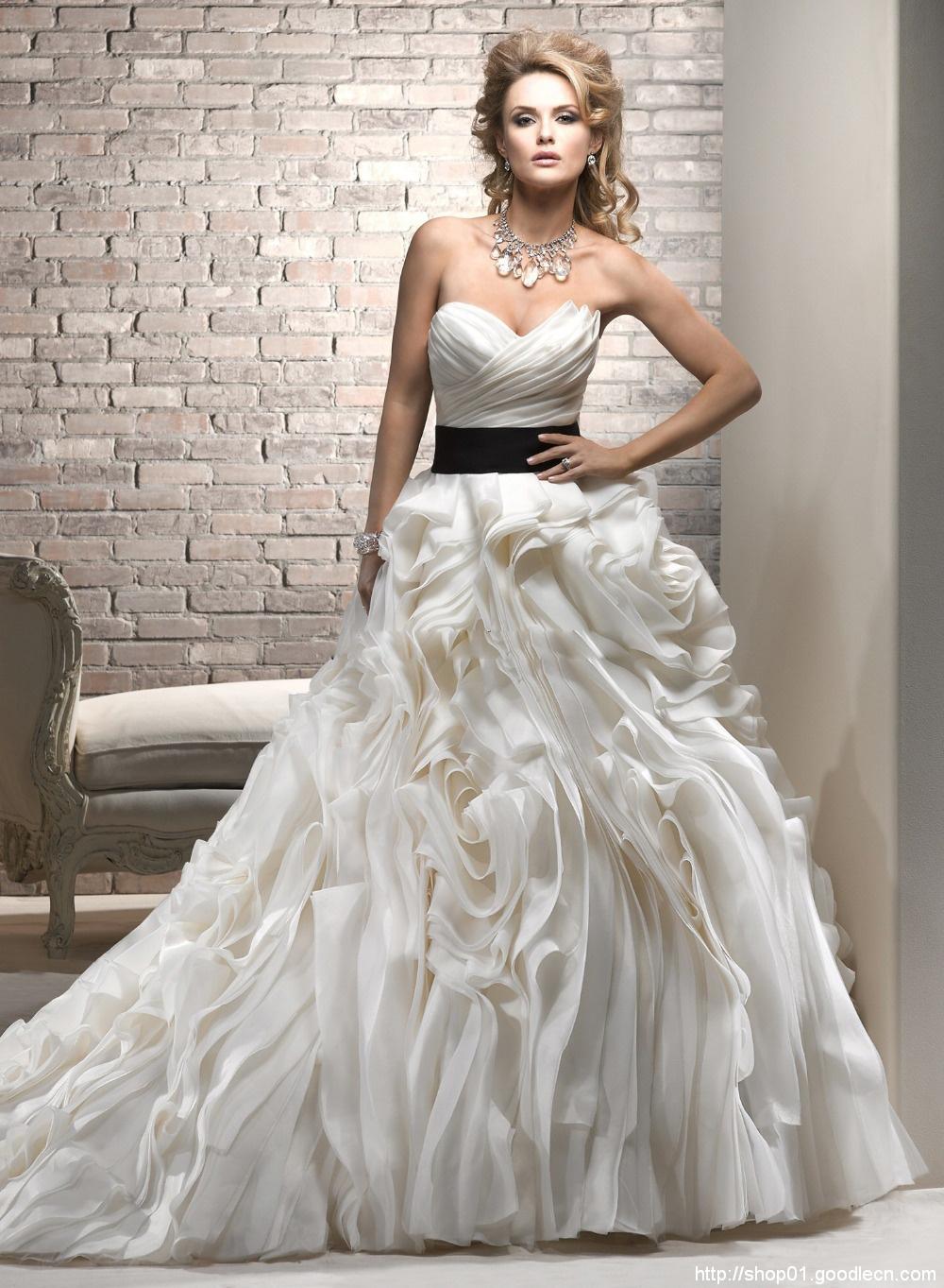 Wedding Dres 2013 New Design Ivory Sash Cascading Ruffles Strapless Sleeveless Custom Wedding Dress Wedding Ball Gowns JK013