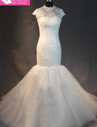 Real Sample Fashionable  White See Through High Neck Cap Sleeves Elegant Mermaid Wedding Dresses Vestidos De Novia 2014 MA513