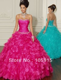 Fashion Corset Turquoise/Rose With Beads Crystal Ball Gown Quinceanera Dresses Graduation Dresses With Jacket Organza CN-67