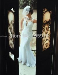 Stunning Sweetheart Spaghetti Straps Sleeveless Long Lace Wedding Dress 2015 Backless Court Train Mermaid Wedding Dresses M55