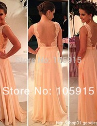 2015 Vestidos De Fiesta Free Shipping Best Sale Peach Long Chiffon A-Line Formal Evening Gowns Nude Back Lace Prom Dresses HL-8