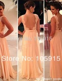 2015 Vestidos De Fiesta Free Shipping Best Sale Peach Long Chiffon A-Line Formal Evening Gowns Nude Back Lace Prom Dresses HL-8