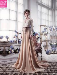 Champagne Long Sleeve Lace Wedding Dresses With Sash Romantic Wedding Gowns Shopping Sales Online Vestido De Noiva 2016 W1124K