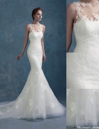Gorgeous White Scoop See Through Elegant Sleeveless Mermaid Wedding Dresses Lace Wedding Dress 2015 Vestido De Casamento MK-11