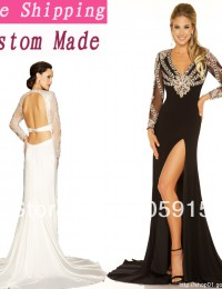 2014 New Arrival Long Sleeve Floor Length Mother Of The Bride Dresses See Through Open Back Black/Ivory Side Slit Chiffon EV1054