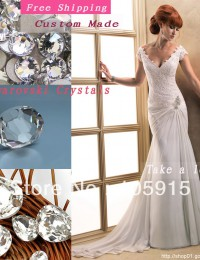 Sexy Charming Crystal Buttons V-Neck Lace Simple White Beach Wedding Dresses Bride Wedding Gowns Chiffon MH06