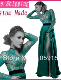 2014 New Design Long Sleeves Lace Floor Length Evening Dresses Open Back Side Slit Party Dress Dark Green Chiffon EV1057