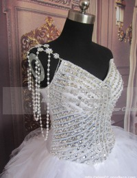 2013 Luxury Real Sample White With Crystals Pleated Ball Gown See Through Wedding Dresses Bride Gowns Tulle RS-19
