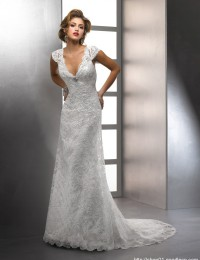 2013 Modest Summer Wedding Dresses With Short Sleeves Ivory Buttons Lace Mermaid Bridal Gowns Satin DH-00