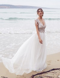 Sparkle A-Line Beach Wedding Dress 2016 Online Shop China Beading Vintage Wedding Dress Bridal Gowns Robe De Mariage W02244