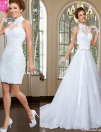 Robe De Mariage High Neck Removable Skirt Lace Wedding Dresses See Through Vintage Wedding Dress Vestido De Casamento 2015 BW-49