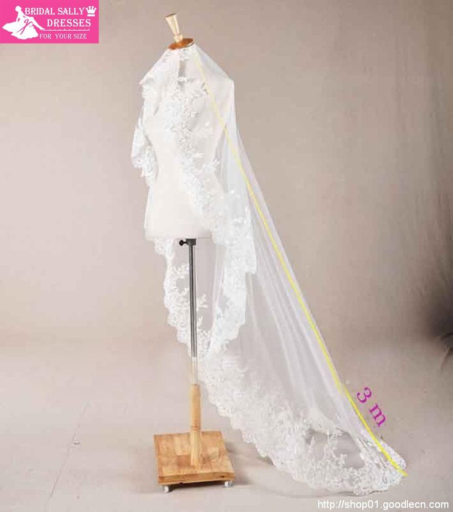 High Quality Ivory/White/Beige One Layer Lace Edge Gossamer Wedding Bridal Veils HL-319