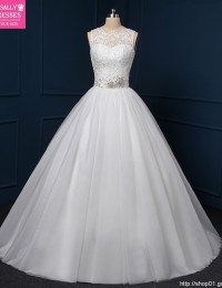 Shopping Sales Online A-Line China Lace Wedding Dresses Robe De Mariage Beaded Sash Wedding Gowns Vestido De Casamento WQ-5