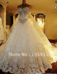 Unique ! Luxury White Sweetheart Floor-length Court Train A-line Crystal Beaded Lace Wedding Dresses Organza HL-515