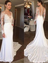 Long Sleeve Muslim Wedding Dress Vestido De Noiva Longo Vintage Wedding Dress Bridal Dresses Robe De Mariee Lace Backless W1162