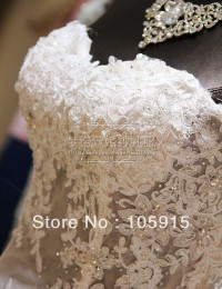 Free Shipping Real Sample See Through Corset Lace Beads With Long Train Mermaid Wedding Dresses Bridal Gowns Organza VC-73