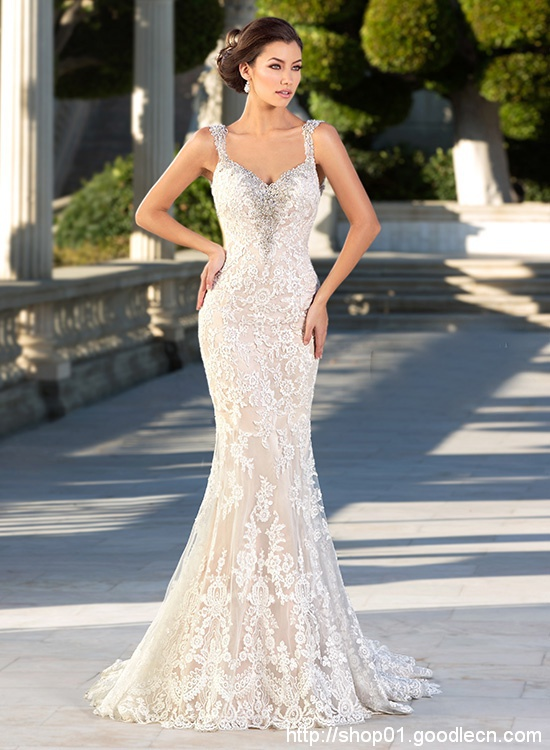 Romantic Lace Wedding Gowns Mermaid Wedding Dresses Beading Backless Sexy Vintage Wedding Dress Vestido De Noiva 2016 W2016-1f