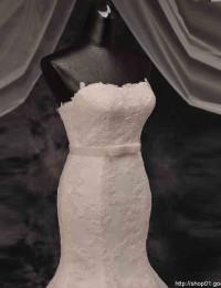 Robe De Mariage Fashionable Strapless Mermaid Wedding Dresses With Sash Lace Wedding Dress Vestido De Noiva Casamento 2015 MM02