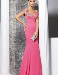 Vestidos De Fiesta Custom Made Elegant Pink Applique With Beads Mermaid Prom Party Dresses Women Evening Dresses Satin LB07