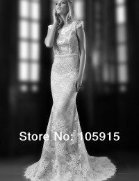 2014 New Fashion Custom Made Ivory Scoop Cap Sleeves Mermaid Lace See Through Open Back Beaded Wedding Dress Bride Gowns SV312