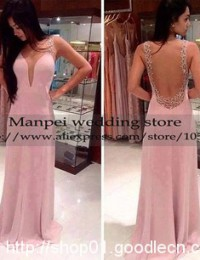 2015 Hot & Sexy A-Line Pink Scoop Sleeveless See Through Back Beaded Prom Dress Party Evening Elegant Vestidos de Fiesta MF-20