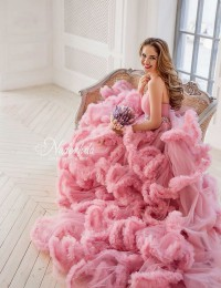 Colorful Wedding Dresses 2015 Beaded Strapless Pink Wedding Gowns Ruffles Wedding Photography Dress Studio Shoot Dress PH-5
