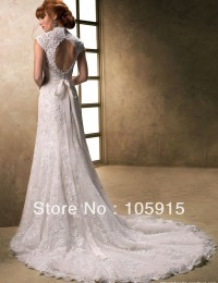 2014 Aulic Custom Made White Crystal Scoop High-Low Bow Sash Sheath Lace and See Through Wedding Dress Bride Wedding Gowns SV22